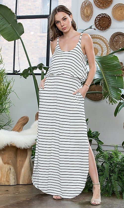Image of striped long casual maxi dress with popover ruffle. Style: LAS-SWE-21-SD5318 Detail Image 2