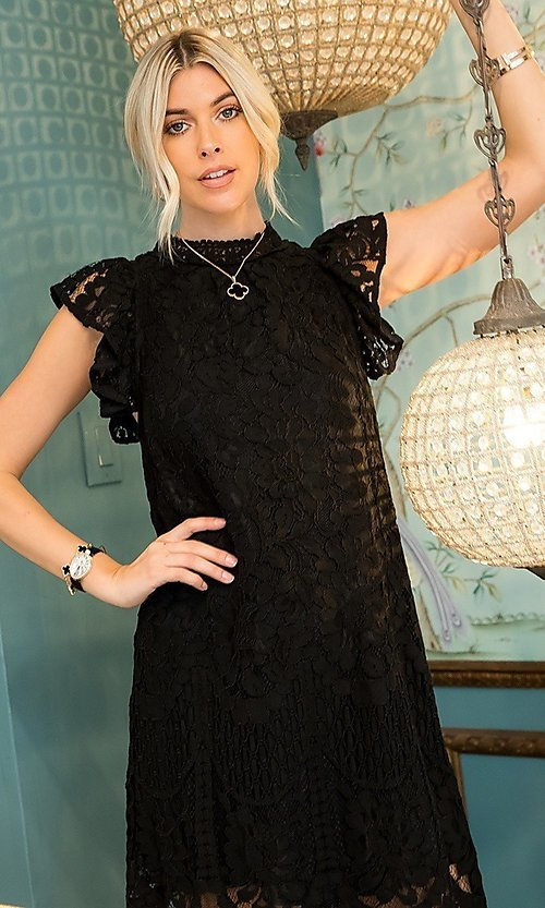 Image of short lace shift party dress. Style: LAS-SWE-21-SW525 Detail Image 3
