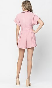 Image of short sleeve short casual romper with pockets. Style: LAS-TCC-21-LR4005 Back Image