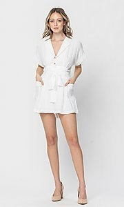 Image of short sleeve short casual romper with pockets. Style: LAS-TCC-21-LR4005 Detail Image 3