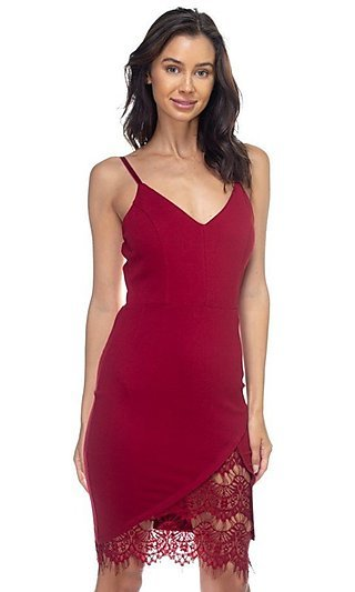 Burgundy Red Lace-Accented Wedding-Guest Dress