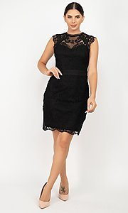 Image of sleeveless short lace wedding-guest party dress. Style: LAS-IRI-21-HMD12684 Detail Image 1