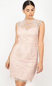 Image of sleeveless short lace wedding-guest party dress. Style: LAS-IRI-21-HMD12684 Detail Image 3