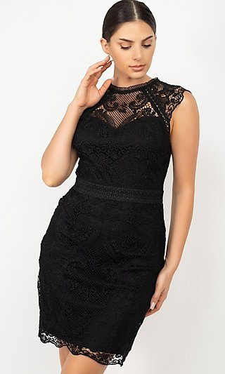 Sleeveless Short Lace Wedding-Guest Party Dress
