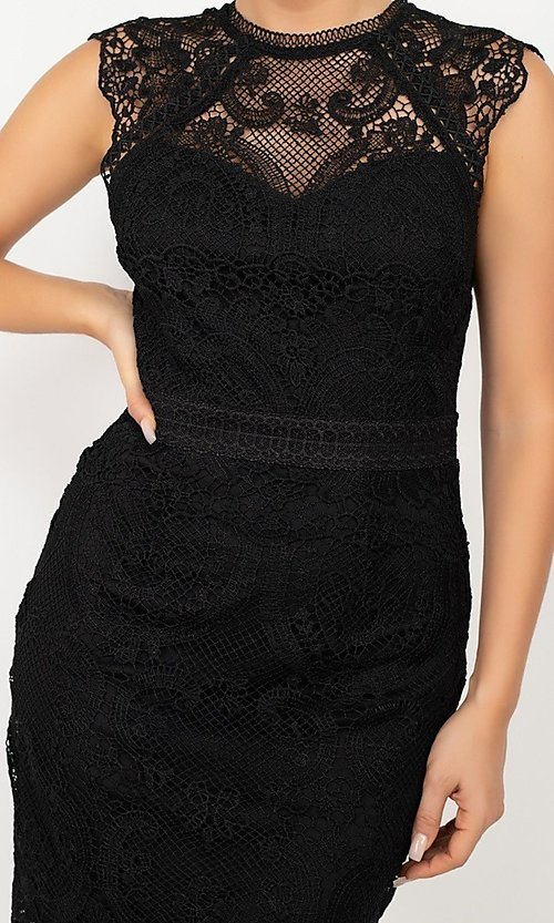 Image of sleeveless short lace wedding-guest party dress. Style: LAS-IRI-21-HMD12684 Detail Image 2