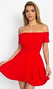 Image of casual off-the-shoulder short party dress. Style: LAS-IRI-21-IP7761 Front Image