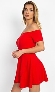 Image of casual off-the-shoulder short party dress. Style: LAS-IRI-21-IP7761 Detail Image 1