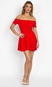 Image of casual off-the-shoulder short party dress. Style: LAS-IRI-21-IP7761 Detail Image 2
