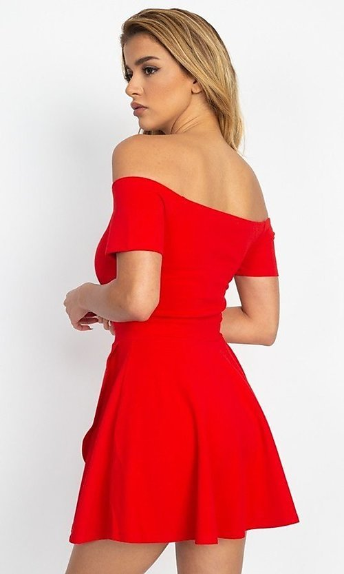 Image of casual off-the-shoulder short party dress. Style: LAS-IRI-21-IP7761 Back Image