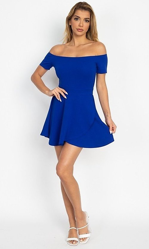 Image of casual off-the-shoulder short party dress. Style: LAS-IRI-21-IP7761 Detail Image 4