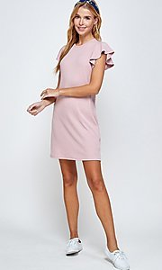 Image of ribbed short shift dress with flutter sleeves. Style: LAS-2H-21-D3094 Front Image