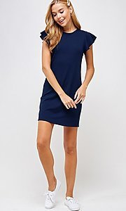 Image of ribbed short shift dress with flutter sleeves. Style: LAS-2H-21-D3094 Detail Image 2