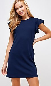 Image of ribbed short shift dress with flutter sleeves. Style: LAS-2H-21-D3094 Detail Image 4