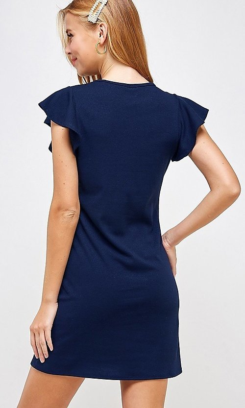 Image of ribbed short shift dress with flutter sleeves. Style: LAS-2H-21-D3094 Back Image