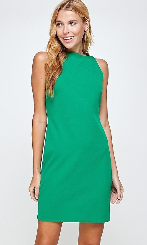Image of sleeveless short simple shift dress. Style: LAS-2H-21-D3167 Detail Image 1