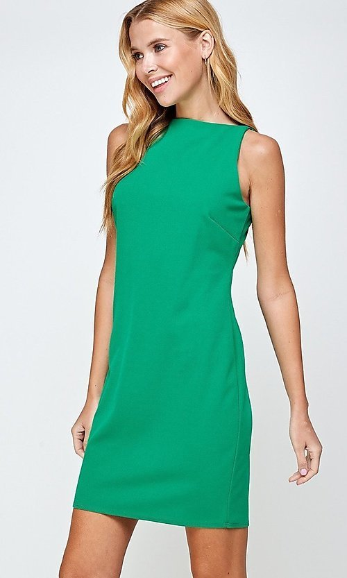Image of sleeveless short simple shift dress. Style: LAS-2H-21-D3167 Detail Image 3