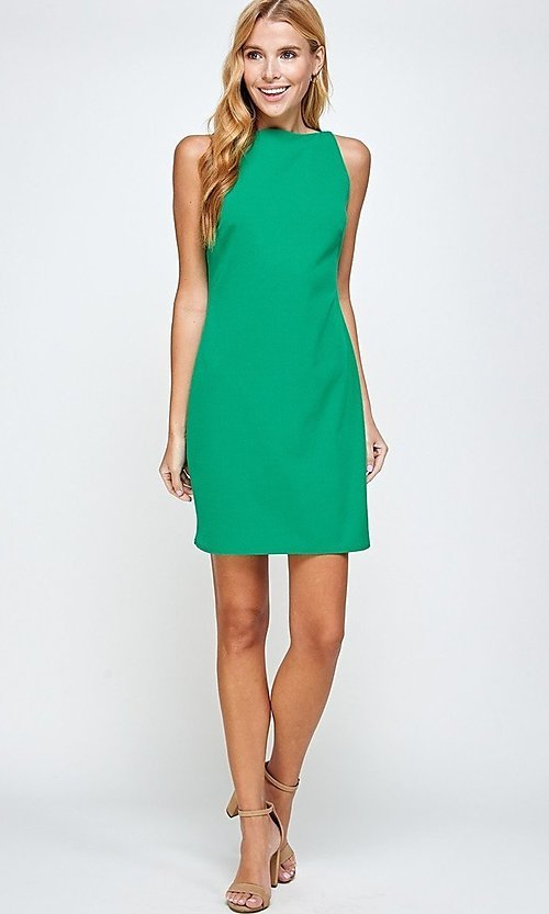 Image of sleeveless short simple shift dress. Style: LAS-2H-21-D3167 Detail Image 4