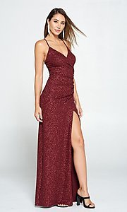Image of glitter burgundy red long ruched prom dress. Style: LAS-LOV-21-ND2623 Front Image