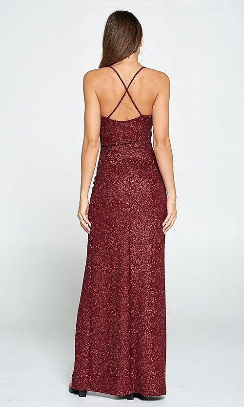 Image of glitter burgundy red long ruched prom dress. Style: LAS-LOV-21-ND2623 Back Image