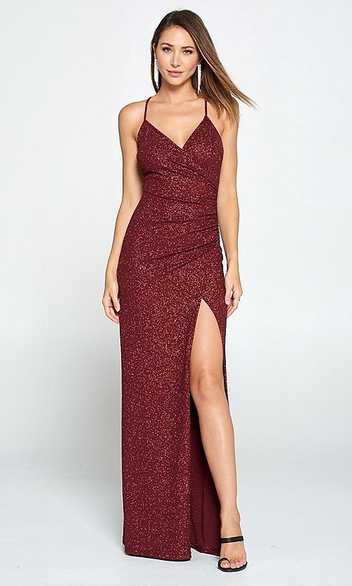 Image of glitter burgundy red long ruched prom dress. Style: LAS-LOV-21-ND2623 Detail Image 1