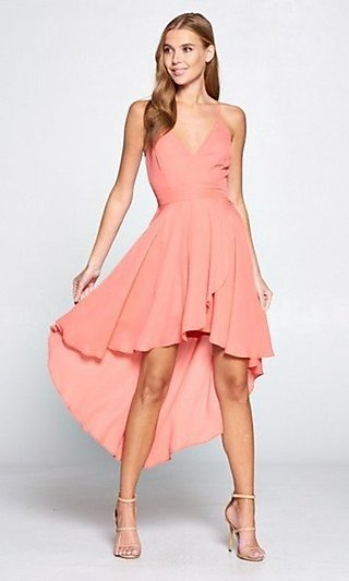 High-Low V-Neck Coral Wedding-Guest Dress