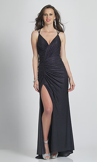 Strappy-Back Ruched Long Black Tight Prom Dress