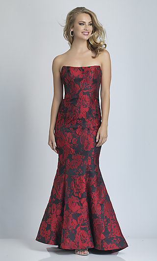 Red Floral Strapless Mermaid Prom Gown