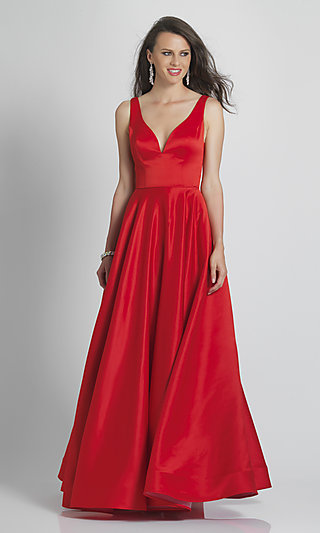 Simple Open-Back Red Prom Ball Gown