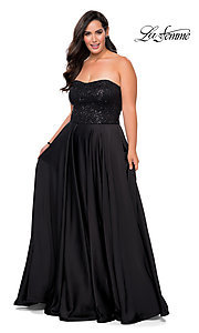 Image of long black plus-size formal prom dress by La Femme. Style: LF-21-P28741 Detail Image 1