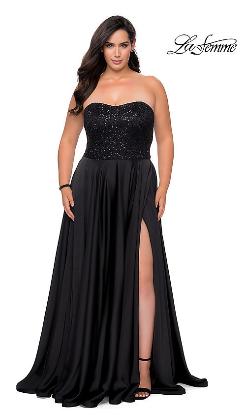 Image of long black plus-size formal prom dress by La Femme. Style: LF-21-P28741 Front Image