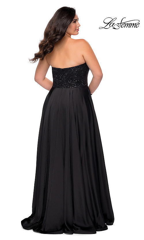 Image of long black plus-size formal prom dress by La Femme. Style: LF-21-P28741 Back Image