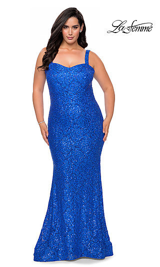 Plus-Size Long Lace Designer Prom Gown