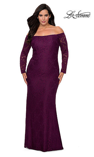 La Femme Long Lace Plus-Size Formal Prom Dress