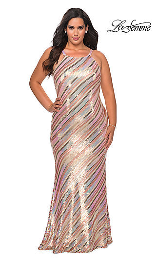 Striped Sequin Plus-Size Long Prom Dress