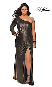 Image of La Femme long metallic plus-size formal prom dress. Style: LF-21-P28878 Front Image