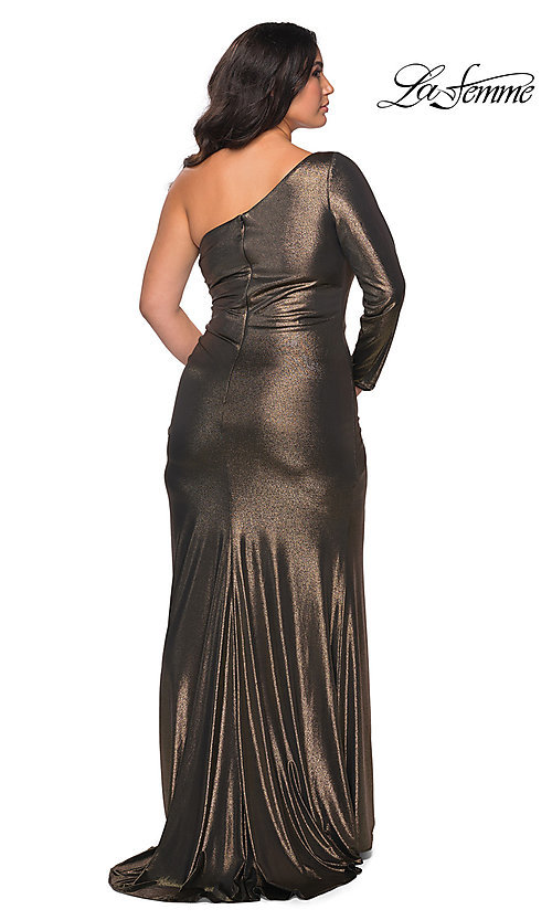 Image of La Femme long metallic plus-size formal prom dress. Style: LF-21-P28878 Back Image
