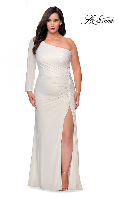 Image of La Femme long metallic plus-size formal prom dress. Style: LF-21-P28878 Detail Image 1