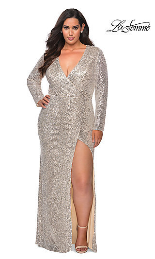 Sequin Long Sleeve Formal Plus-Size Prom Dress