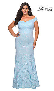 Image of off-the-shoulder long shimmer lace plus prom dress. Style: LF-21-P28883 Front Image