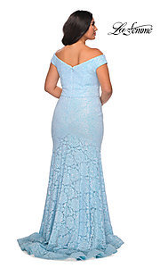 Image of off-the-shoulder long shimmer lace plus prom dress. Style: LF-21-P28883 Back Image