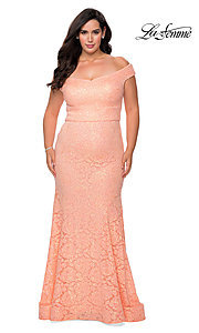 Image of off-the-shoulder long shimmer lace plus prom dress. Style: LF-21-P28883 Detail Image 3