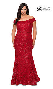 Image of off-the-shoulder long shimmer lace plus prom dress. Style: LF-21-P28883 Detail Image 4