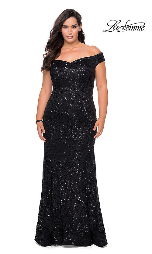 Image of off-the-shoulder long shimmer lace plus prom dress. Style: LF-21-P28883 Detail Image 1