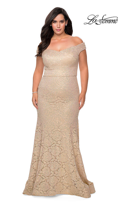 Image of off-the-shoulder long shimmer lace plus prom dress. Style: LF-21-P28883 Detail Image 2