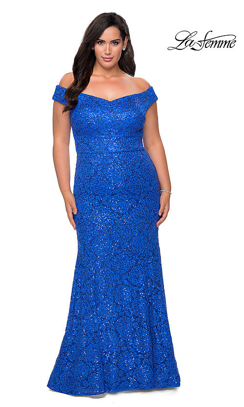 Image of off-the-shoulder long shimmer lace plus prom dress. Style: LF-21-P28883 Detail Image 5