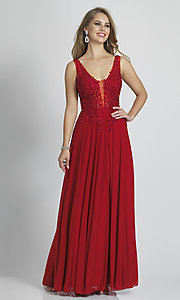 Image of lace-bodice Dave and Johnny long red prom dress. Style: DJ-21-A9147 Front Image