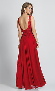 Image of lace-bodice Dave and Johnny long red prom dress. Style: DJ-21-A9147 Back Image