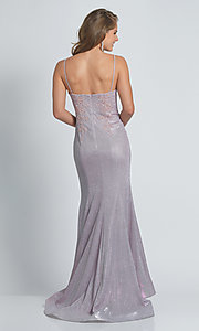 Image of embroidered long glitter mermaid formal prom dress. Style: DJ-21-A9160 Back Image
