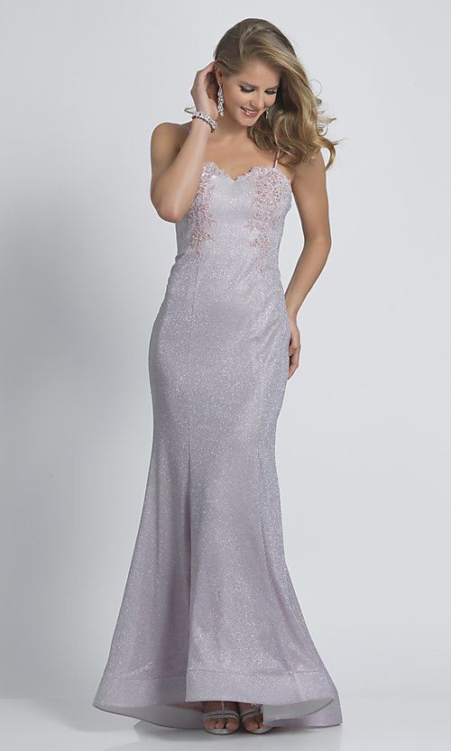 Image of embroidered long glitter mermaid formal prom dress. Style: DJ-21-A9160 Front Image