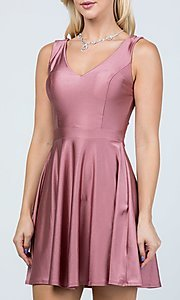 Image of classic short sleeveless a-line party dress. Style: LAS-LSC-21-25589 Detail Image 2